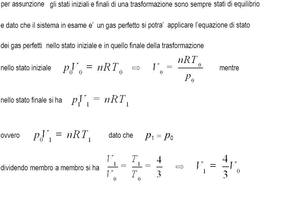 L = 1663 J impossibile e' impossibile da confrontare con il lavoro di 1433 J dunque quindi dato che effettivamente svolto dal gas che la trasformazione sia un' isobara reversibile