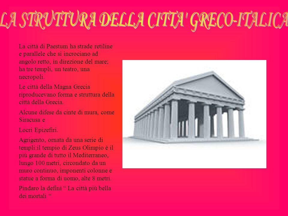La città di Paestum ha strade retiline e parallele che si incrociano ad angolo retto, in direzione del mare; ha tre templi, un teatro, una necropoli.