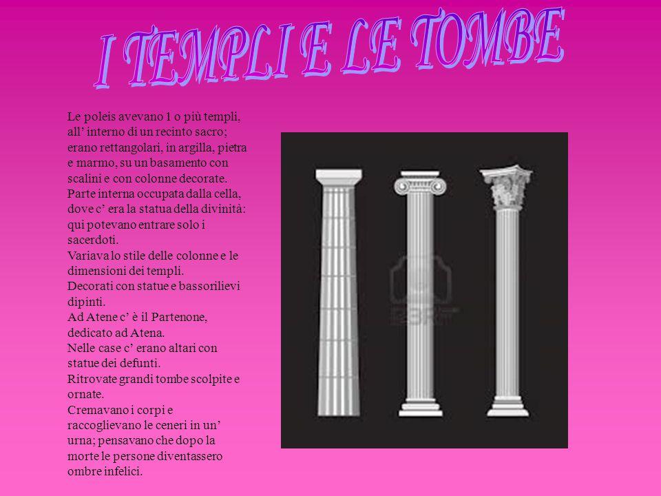 Le poleis avevano 1 o più templi, all' interno di un recinto sacro; erano rettangolari, in argilla, pietra e marmo, su un basamento con scalini e con