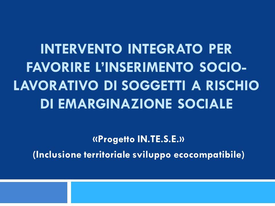 INTERVENTO INTEGRATO PER FAVORIRE L'INSERIMENTO SOCIO- LAVORATIVO DI SOGGETTI A RISCHIO DI EMARGINAZIONE SOCIALE «Progetto IN.TE.S.E.» (Inclusione ter