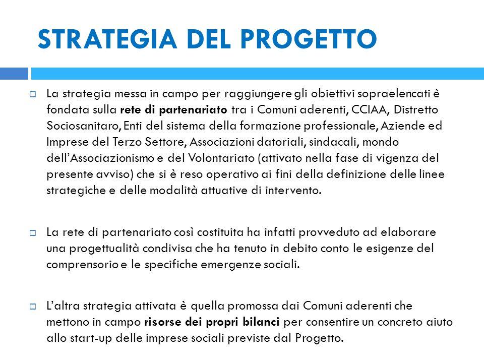 STRATEGIA DEL PROGETTO  La strategia messa in campo per raggiungere gli obiettivi sopraelencati è fondata sulla rete di partenariato tra i Comuni ade