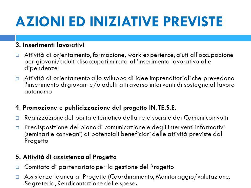 AZIONI ED INIZIATIVE PREVISTE 3.
