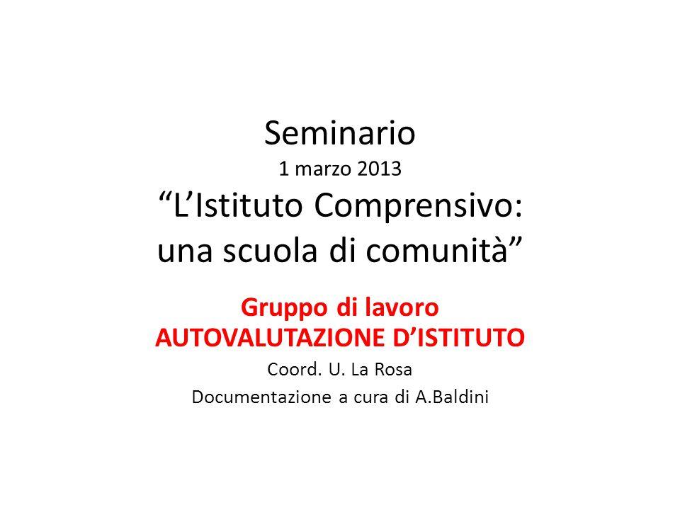 """Seminario 1 marzo 2013 """"L'Istituto Comprensivo: una scuola di comunità"""" Gruppo di lavoro AUTOVALUTAZIONE D'ISTITUTO Coord. U. La Rosa Documentazione a"""
