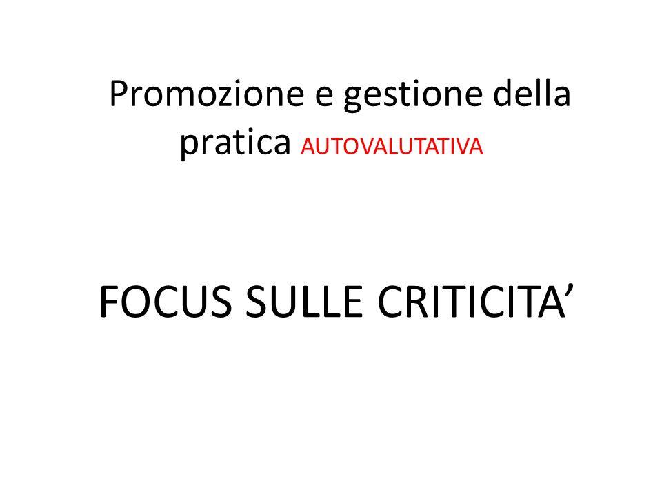 Promozione e gestione della pratica AUTOVALUTATIVA FOCUS SULLE CRITICITA'