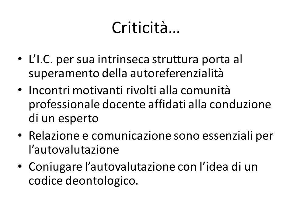 Criticità… L'I.C. per sua intrinseca struttura porta al superamento della autoreferenzialità Incontri motivanti rivolti alla comunità professionale do