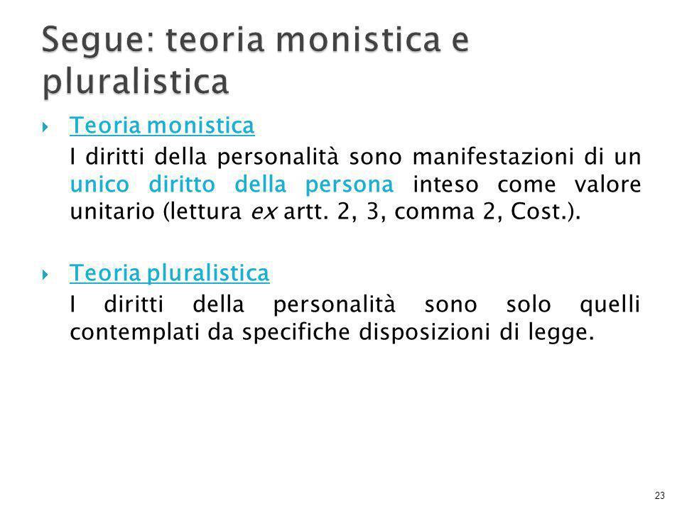  Teoria monistica I diritti della personalità sono manifestazioni di un unico diritto della persona inteso come valore unitario (lettura ex artt.