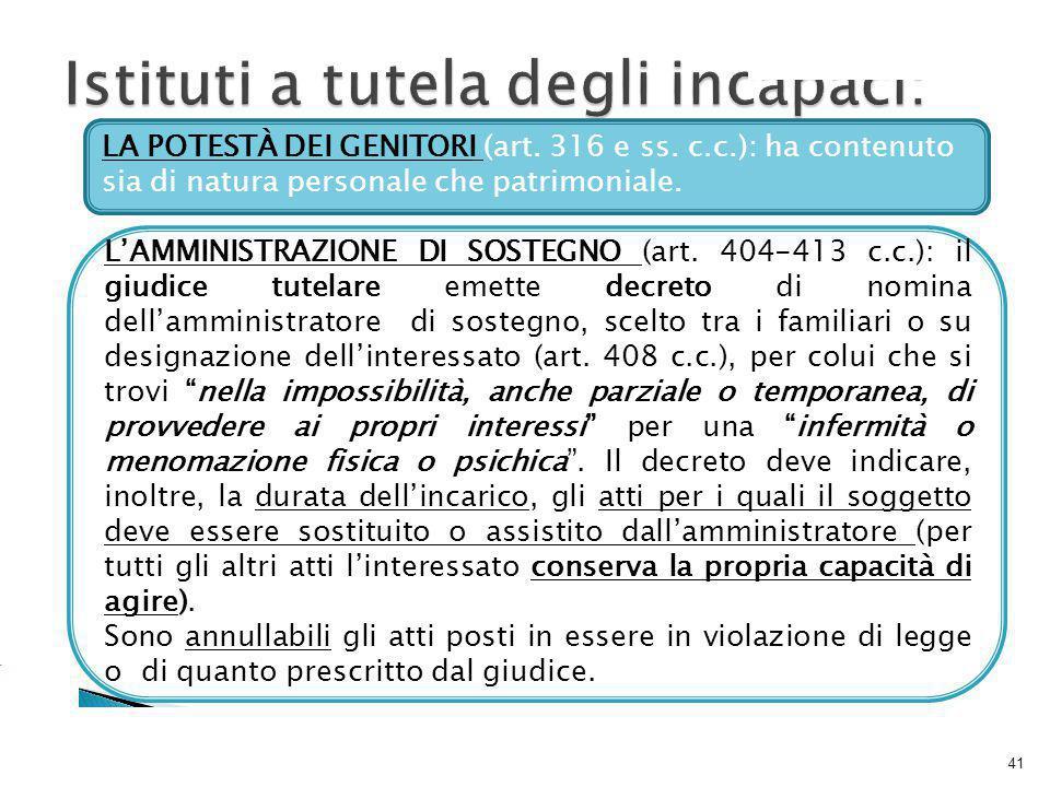 41 LA POTESTÀ DEI GENITORI (art.316 e ss.