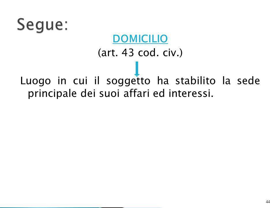 DOMICILIO (art.43 cod.