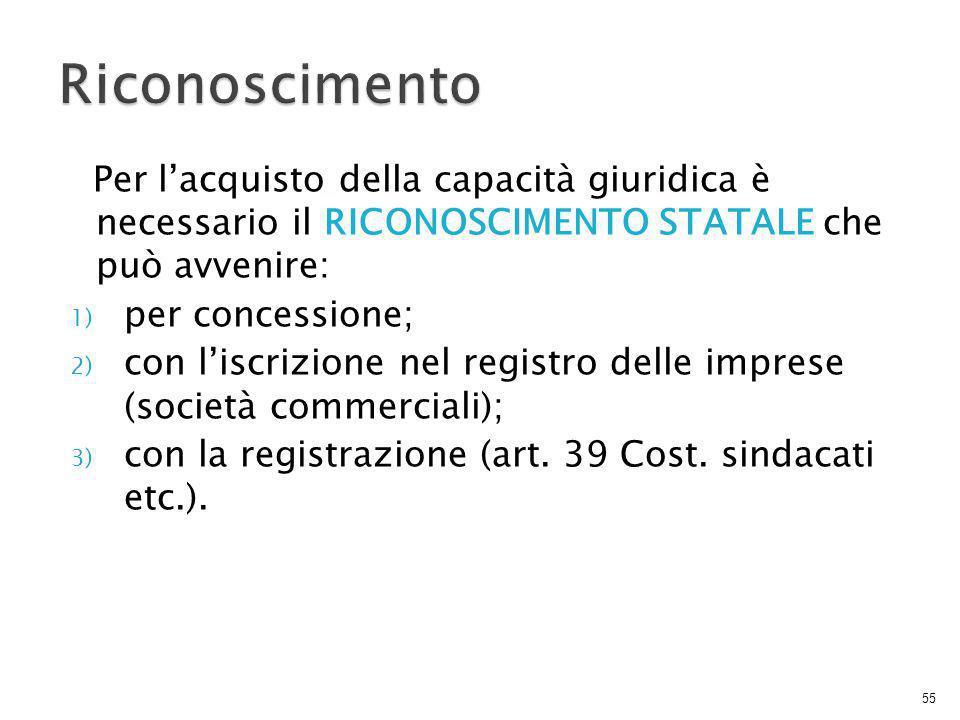 Per l'acquisto della capacità giuridica è necessario il RICONOSCIMENTO STATALE che può avvenire: 1) per concessione; 2) con l'iscrizione nel registro delle imprese (società commerciali); 3) con la registrazione (art.