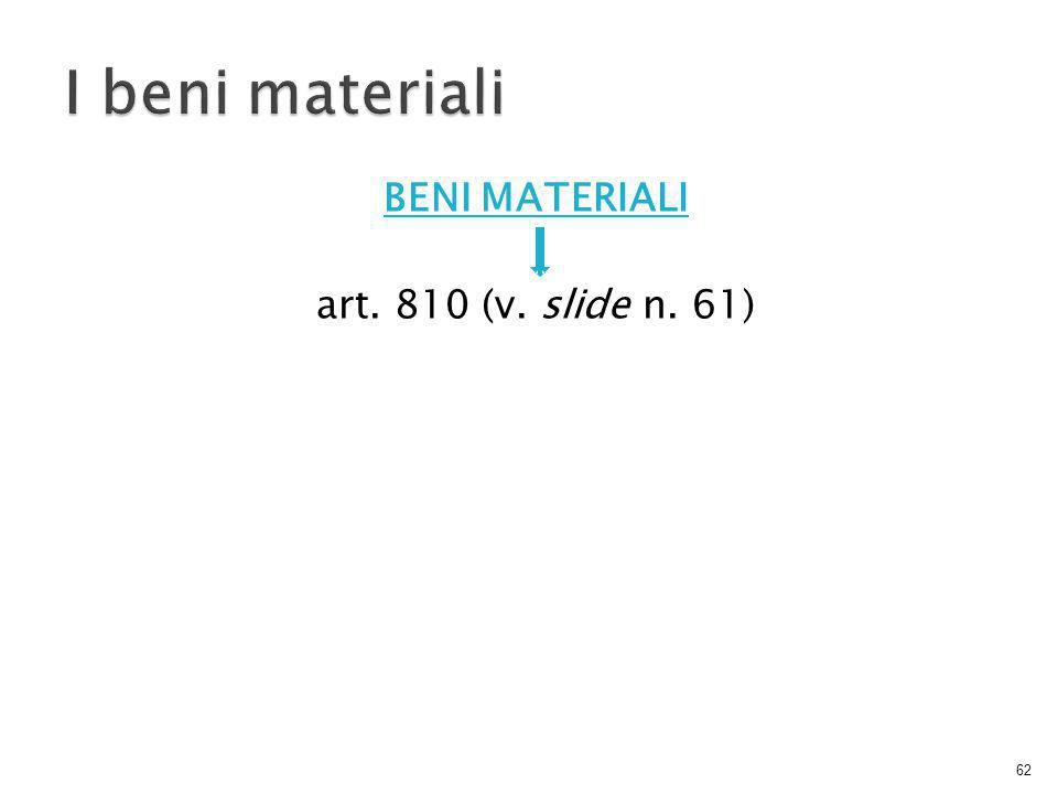 BENI MATERIALI art. 810 (v. slide n. 61) 62