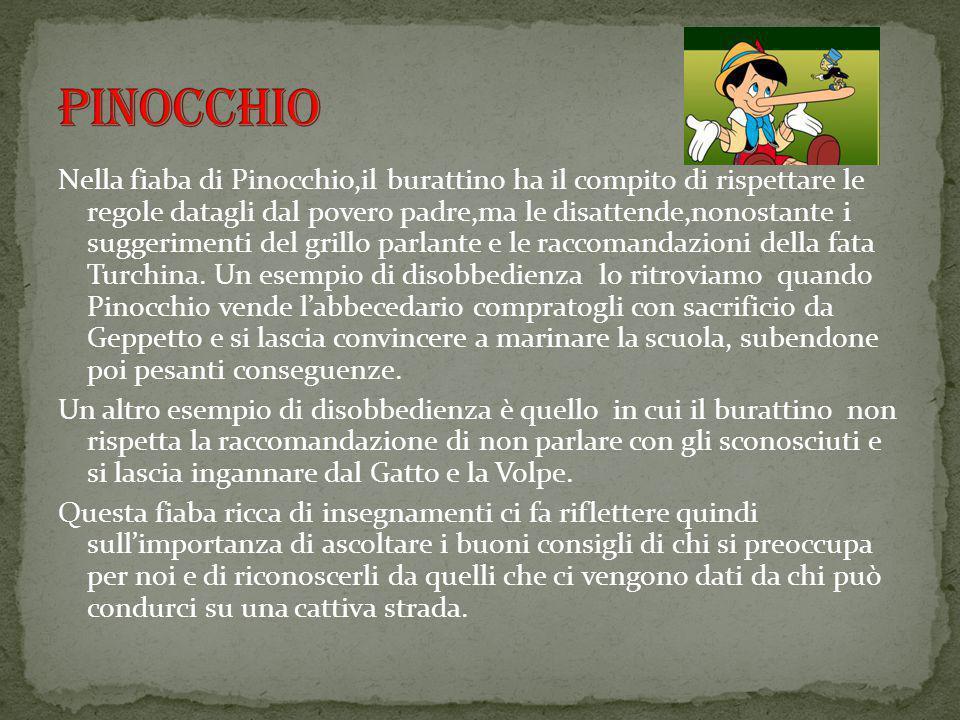 Nella fiaba di Pinocchio,il burattino ha il compito di rispettare le regole datagli dal povero padre,ma le disattende,nonostante i suggerimenti del gr