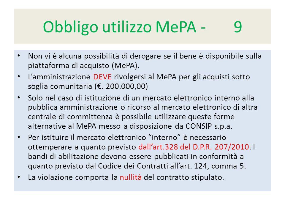 Obbligo utilizzo MePA - 9 Non vi è alcuna possibilità di derogare se il bene è disponibile sulla piattaforma di acquisto (MePA).