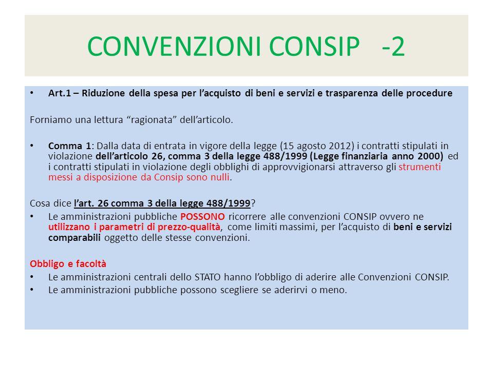 CONVENZIONI CONSIP -2 Art.1 – Riduzione della spesa per l'acquisto di beni e servizi e trasparenza delle procedure Forniamo una lettura ragionata dell'articolo.
