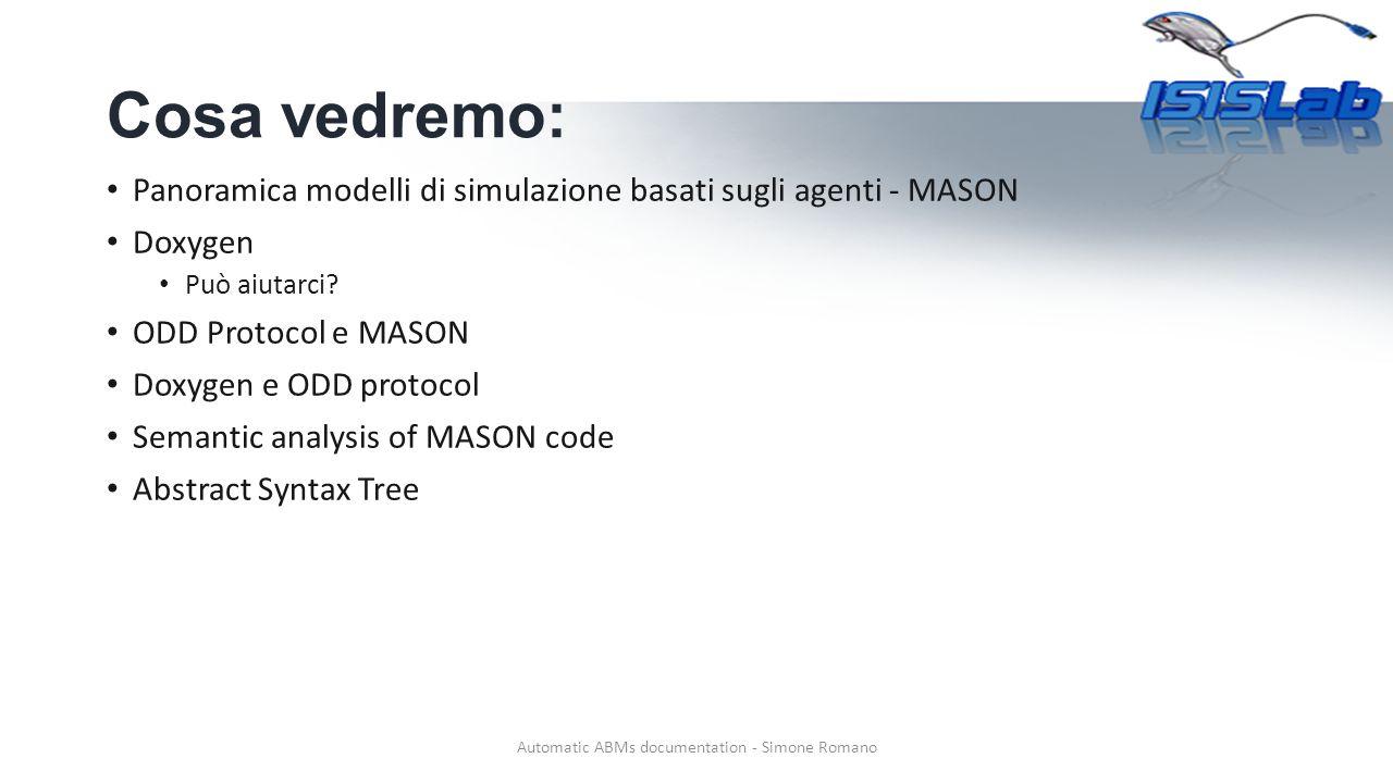 Esempio 1 Automatic ABMs documentation - Simone Romano SimState analysis - example Utilizzando AST analizziamo le variabili della classe che estende SimState ELEMENTISEMANTICA IntGrid2DVariable sites represent a field of simulation.