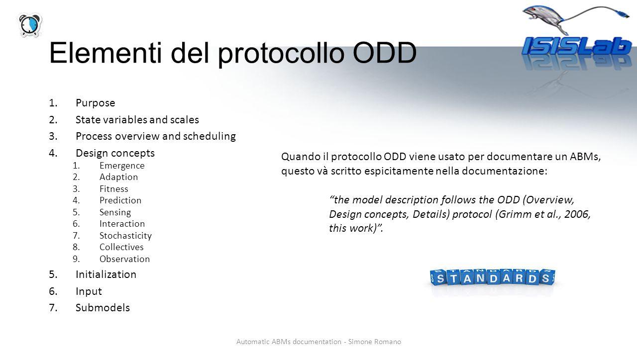 Elementi del protocollo ODD Automatic ABMs documentation - Simone Romano 1.Purpose 2.State variables and scales 3.Process overview and scheduling 4.De