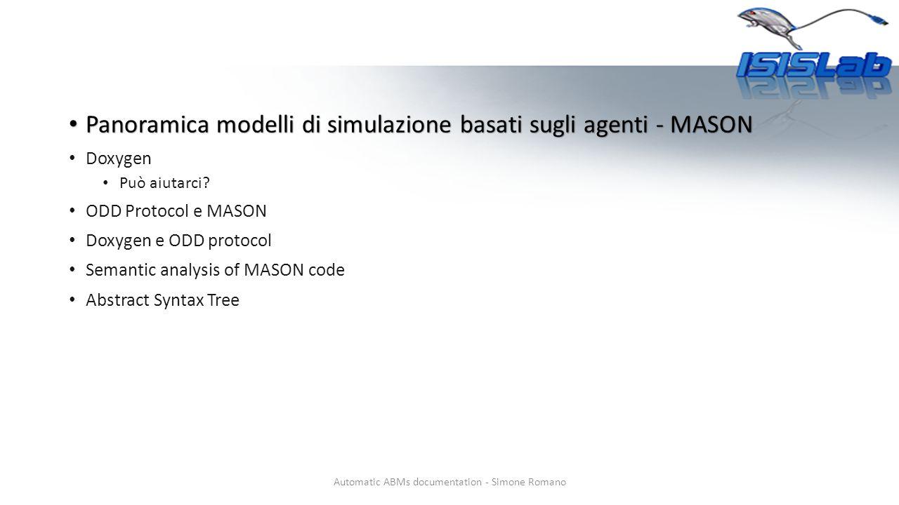Sintassi doxygen Automatic ABMs documentation - Simone Romano Definizione gruppo SimulationModel Definizione del gruppo Purpose @ingroup SimulationModel Definizione del gruppo Entities @ingroup SimulationModel …