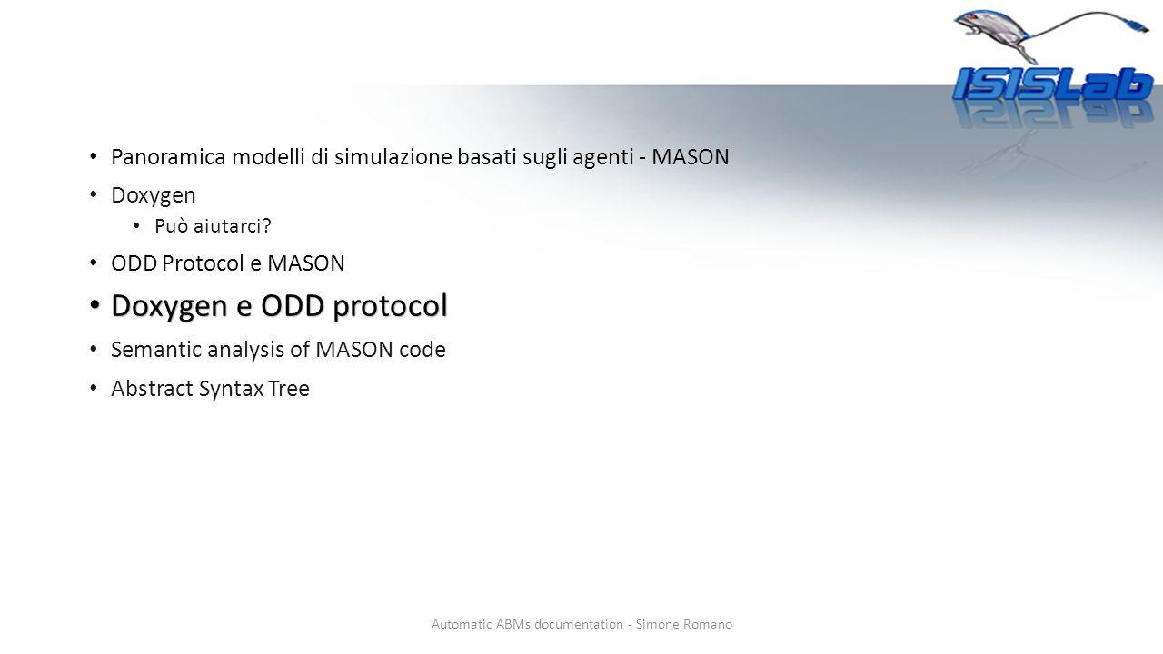 Panoramica modelli di simulazione basati sugli agenti - MASON Doxygen Può aiutarci.