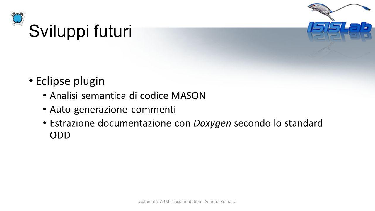 Sviluppi futuri Eclipse plugin Analisi semantica di codice MASON Auto-generazione commenti Estrazione documentazione con Doxygen secondo lo standard ODD Automatic ABMs documentation - Simone Romano