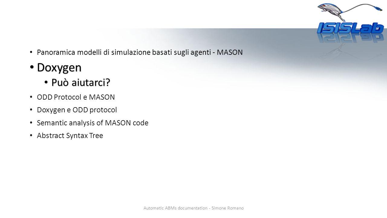 Panoramica modelli di simulazione basati sugli agenti - MASON Doxygen Doxygen Può aiutarci.