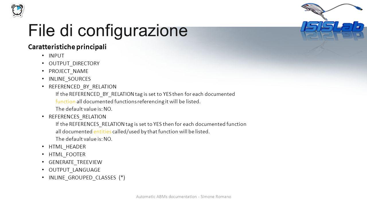 Necessità di Graphviz http://www.graphviz.org/ http://www.graphviz.org/ HAVE_DOT = YES DOT_PATH DOT_NUM_THREADS CLASS_GRAPH Automatic ABMs documentation - Simone Romano File di configurazione - grafici