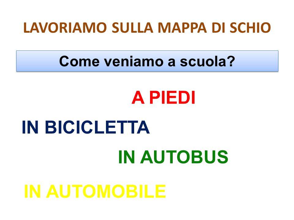 LAVORIAMO SULLA MAPPA DI SCHIO Come veniamo a scuola? A PIEDI IN BICICLETTA IN AUTOBUS IN AUTOMOBILE