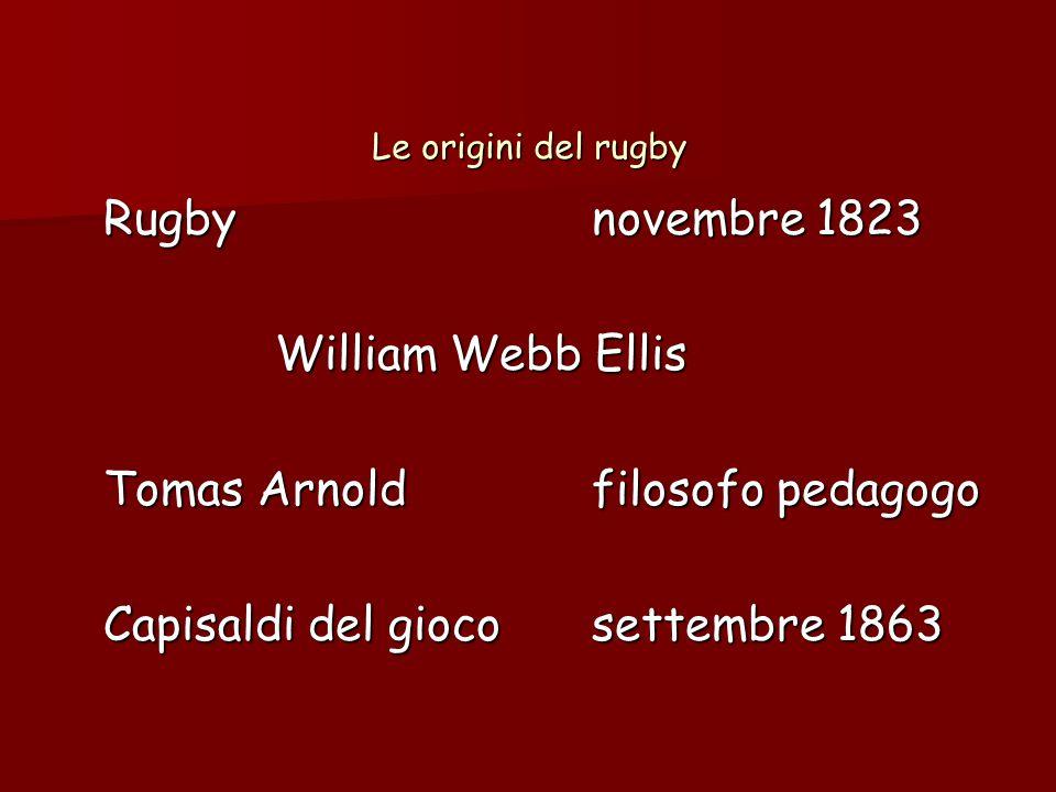 Le origini del rugby Rugbynovembre 1823 William Webb Ellis Tomas Arnoldfilosofo pedagogo Capisaldi del giocosettembre 1863