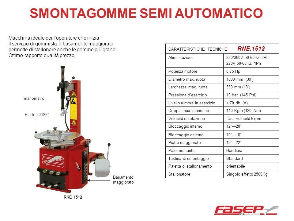 SMONTAGOMME SEMI AUTOMATICO CARATTERISTICHE TECNICHE RNE.1512 Alimentazione220/380V 50-60HZ 3Ph 220V 50-60HZ 1Ph Potenza motore0.75 Hp Diametro max. r