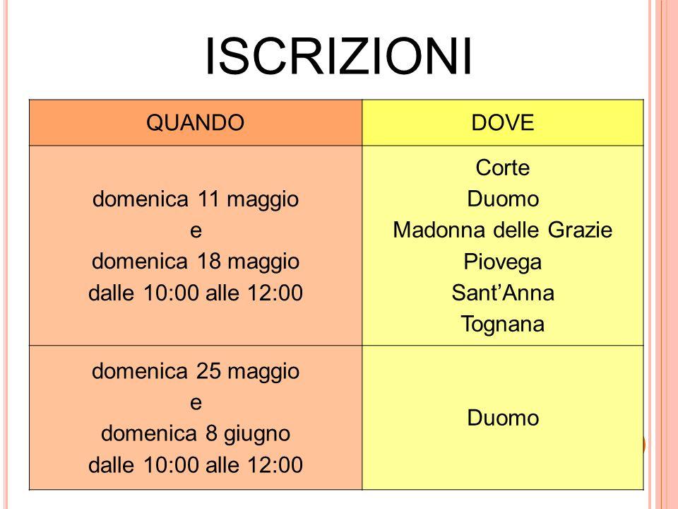 ISCRIZIONI QUANDODOVE domenica 11 maggio e domenica 18 maggio dalle 10:00 alle 12:00 Corte Duomo Madonna delle Grazie Piovega Sant'Anna Tognana domeni