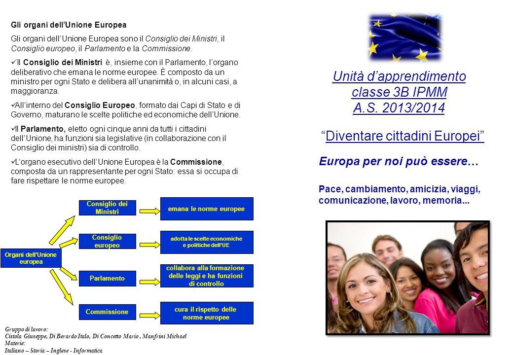 """Unità d'apprendimento classe 3B IPMM A.S. 2013/2014 """"Diventare cittadini Europei"""" Europa per noi può essere… Pace, cambiamento, amicizia, viaggi, comu"""