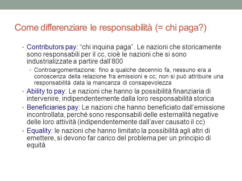 """Come differenziare le responsabilità (= chi paga?) Contributors pay: """"chi inquina paga"""". Le nazioni che storicamente sono responsabili per il cc, cioè"""