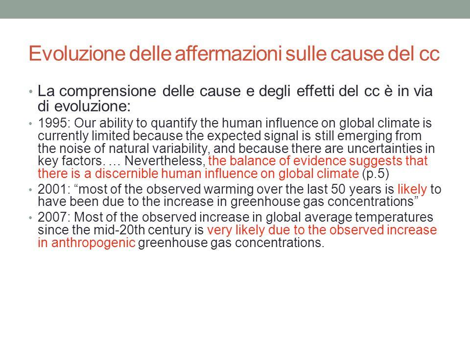 Evoluzione delle affermazioni sulle cause del cc La comprensione delle cause e degli effetti del cc è in via di evoluzione: 1995: Our ability to quant
