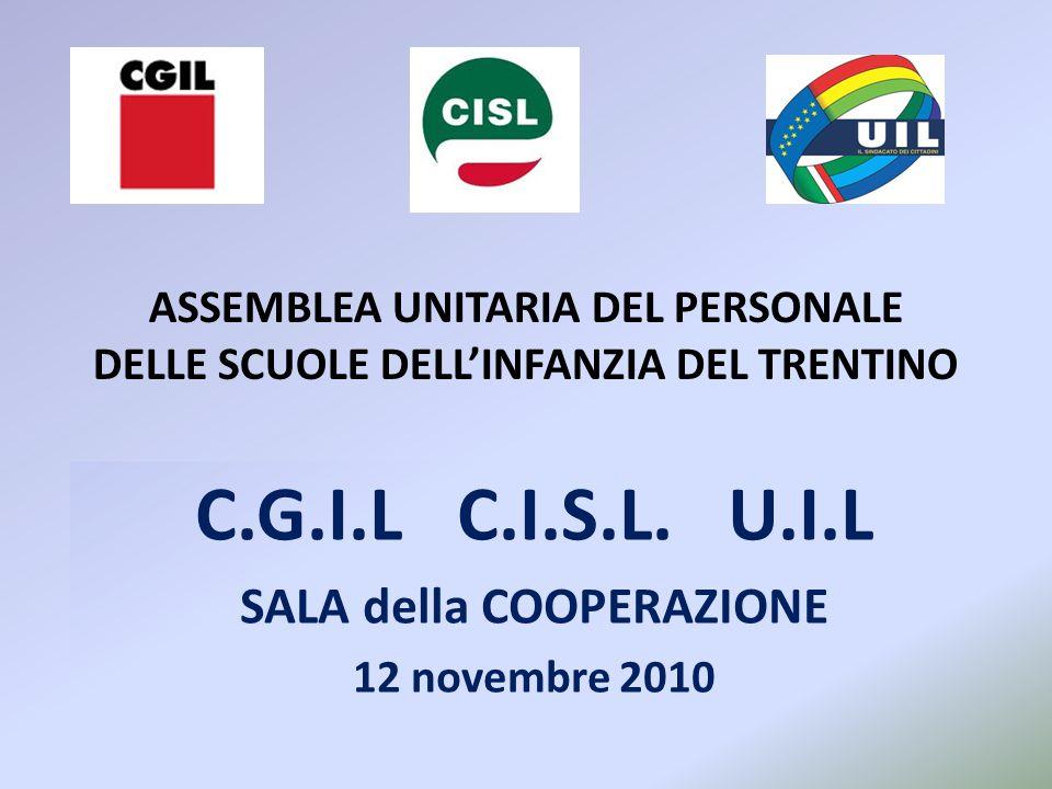 ASSEMBLEA UNITARIA DEL PERSONALE DELLE SCUOLE DELL'INFANZIA DEL TRENTINO C.G.I.L C.I.S.L. U.I.L SALA della COOPERAZIONE 12 novembre 2010