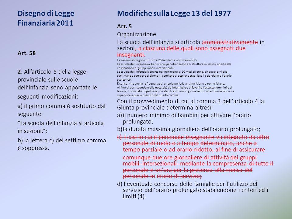 Disegno di Legge Finanziaria 2011 Modifiche sulla Legge 13 del 1977 Art. 5 Organizzazione La scuola dell'infanzia si articola amministrativamente in s