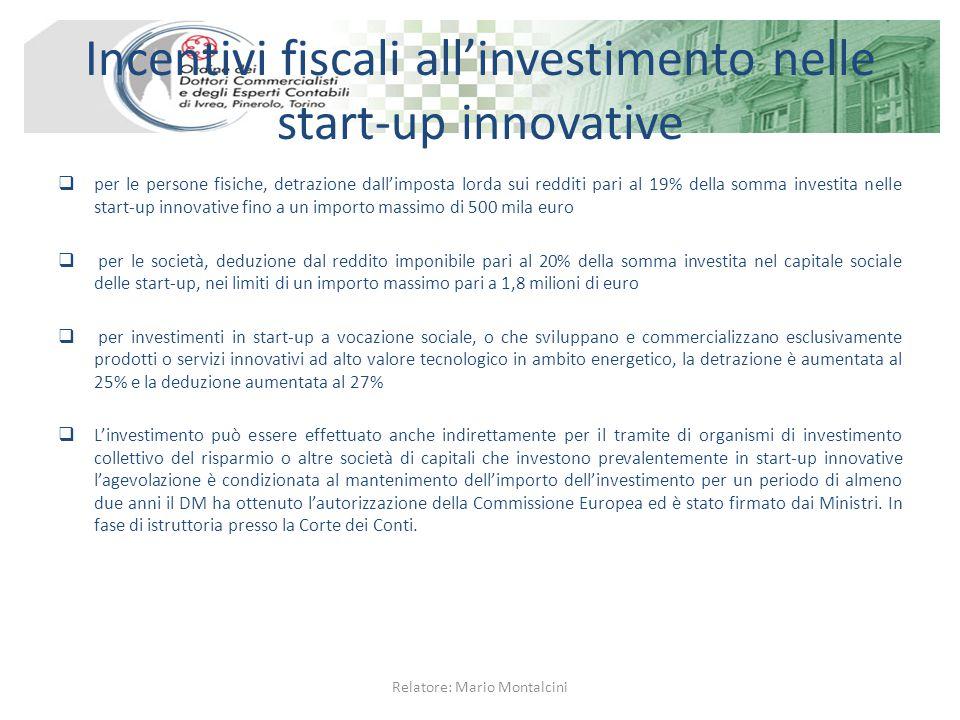 Incentivi fiscali all'investimento nelle start-up innovative  per le persone fisiche, detrazione dall'imposta lorda sui redditi pari al 19% della som