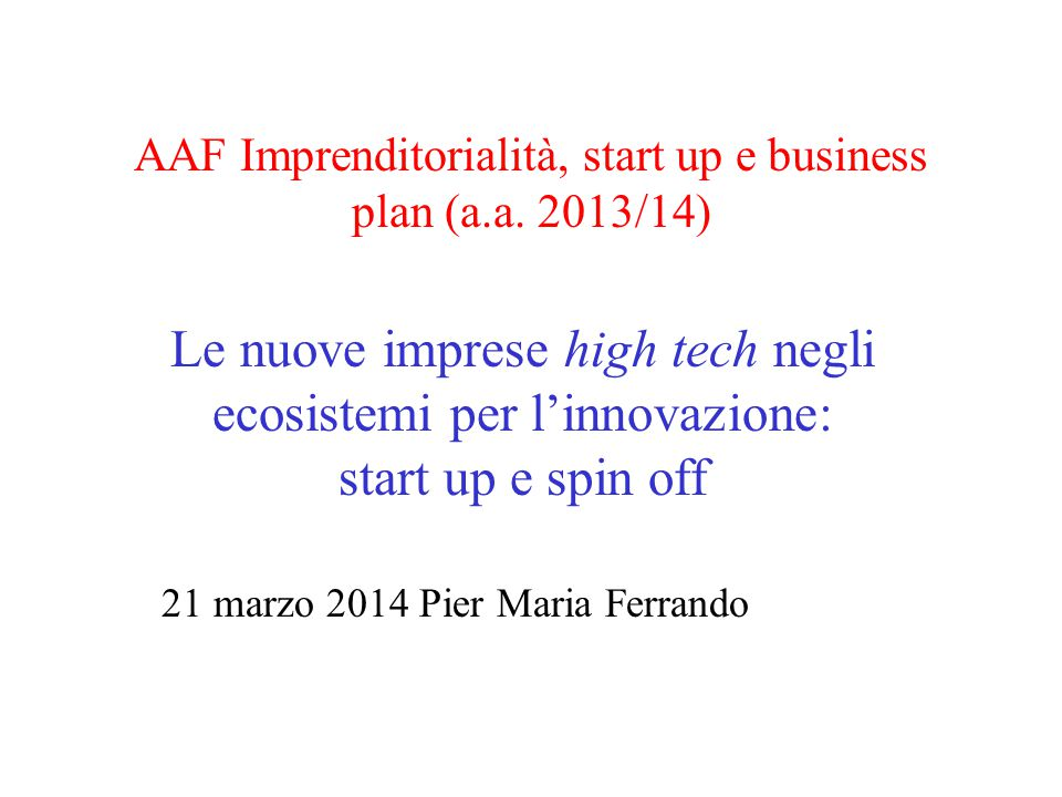 AAF Imprenditorialità, start up e business plan (a.a.