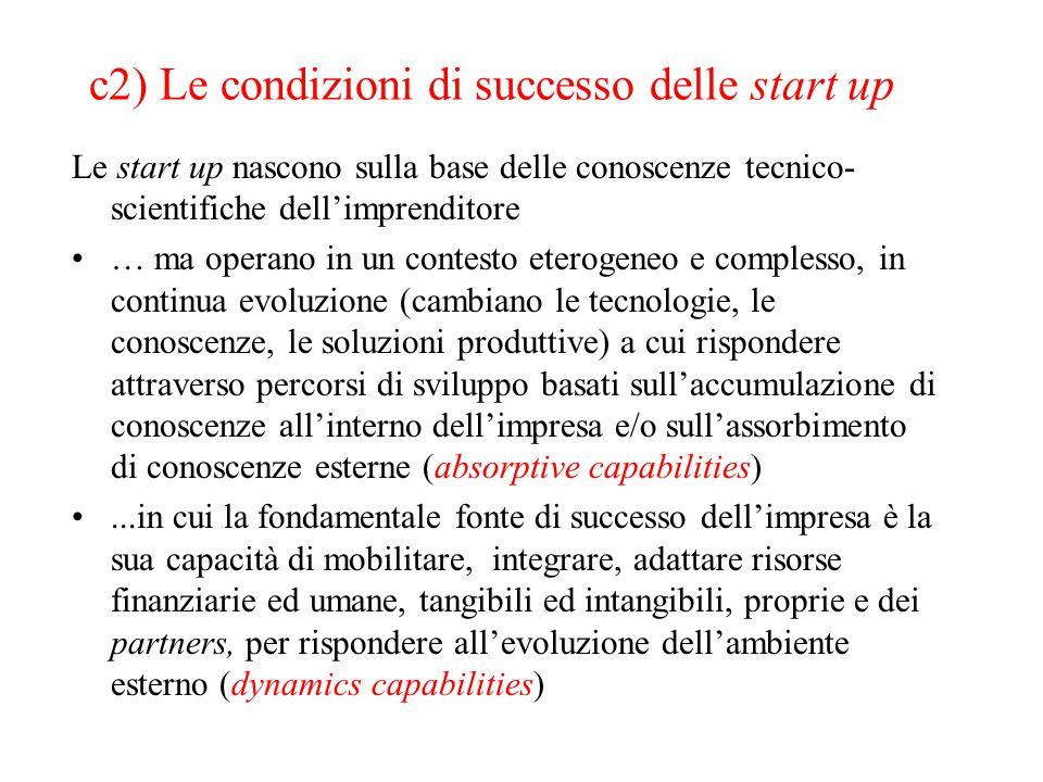 c2) Le condizioni di successo delle start up Le start up nascono sulla base delle conoscenze tecnico- scientifiche dell'imprenditore … ma operano in u