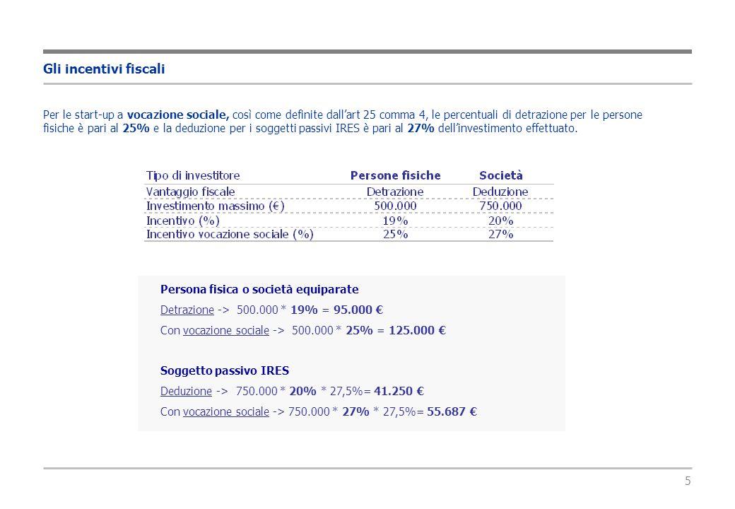 5 Gli incentivi fiscali Persona fisica o società equiparate Detrazione -> 500.000 * 19% = 95.000 € Con vocazione sociale -> 500.000 * 25% = 125.000 € Soggetto passivo IRES Deduzione -> 750.000 * 20% * 27,5%= 41.250 € Con vocazione sociale -> 750.000 * 27% * 27,5%= 55.687 € Per le start-up a vocazione sociale, così come definite dall'art 25 comma 4, le percentuali di detrazione per le persone fisiche è pari al 25% e la deduzione per i soggetti passivi IRES è pari al 27% dell'investimento effettuato.