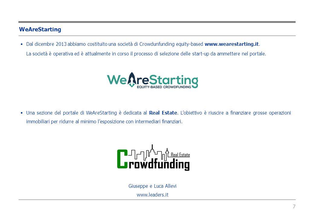 7 WeAreStarting Dal dicembre 2013 abbiamo costituito una società di Crowdunfunding equity-based www.wearestarting.it. La società è operativa ed è attu