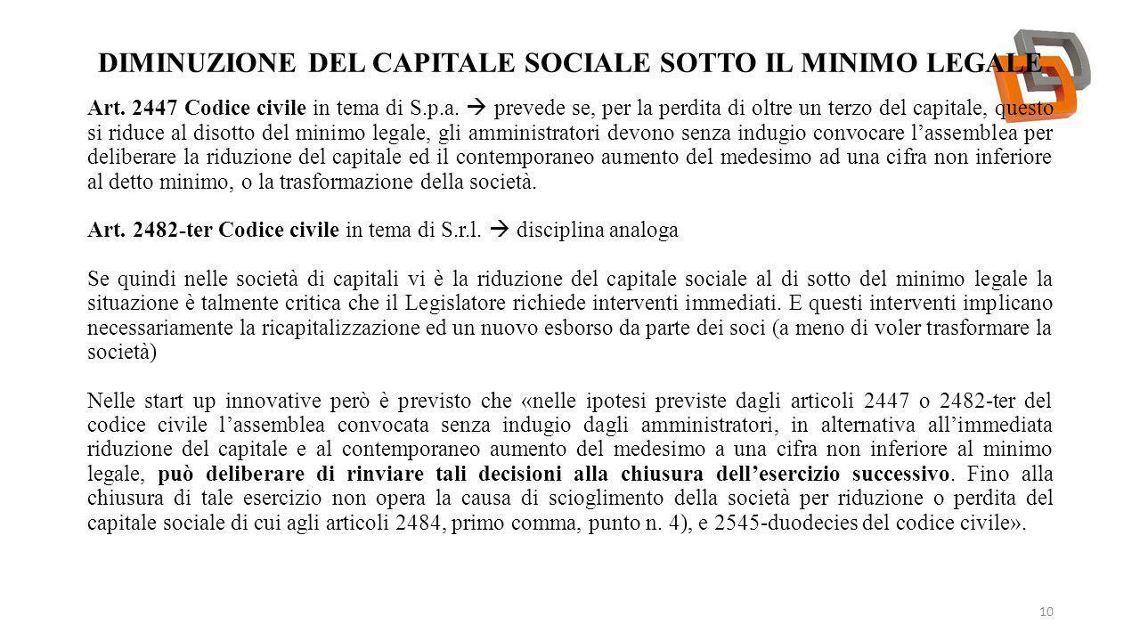 DIMINUZIONE DEL CAPITALE SOCIALE SOTTO IL MINIMO LEGALE 10 Art. 2447 Codice civile in tema di S.p.a.  prevede se, per la perdita di oltre un terzo de