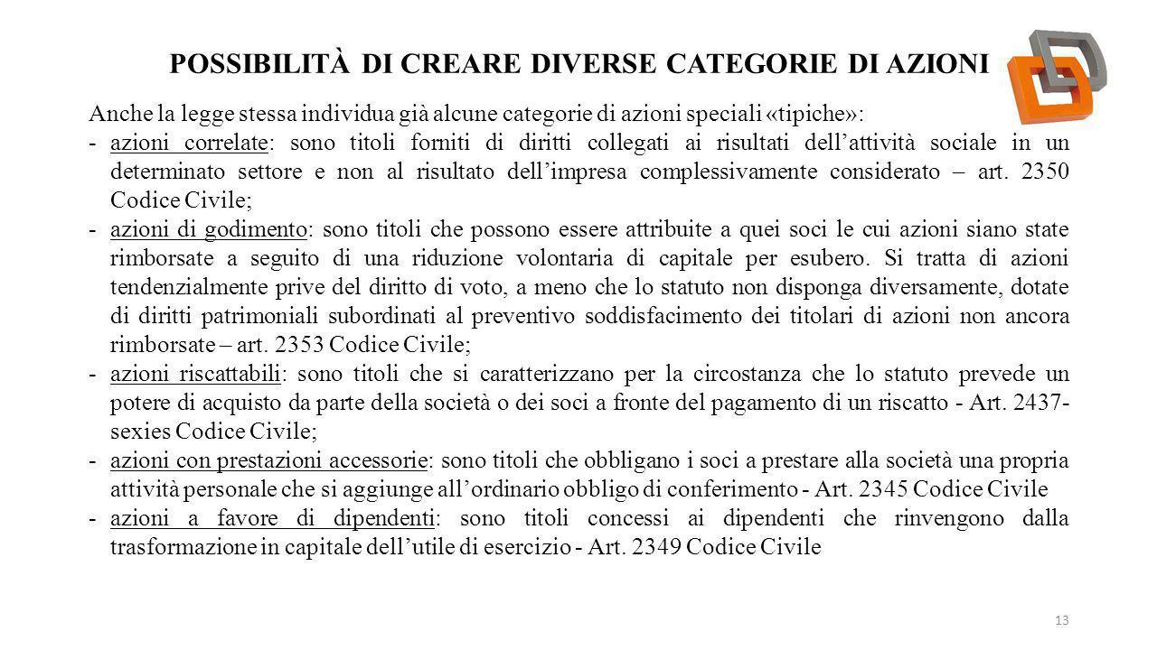 POSSIBILITÀ DI CREARE DIVERSE CATEGORIE DI AZIONI 13 Anche la legge stessa individua già alcune categorie di azioni speciali «tipiche»: -azioni correl