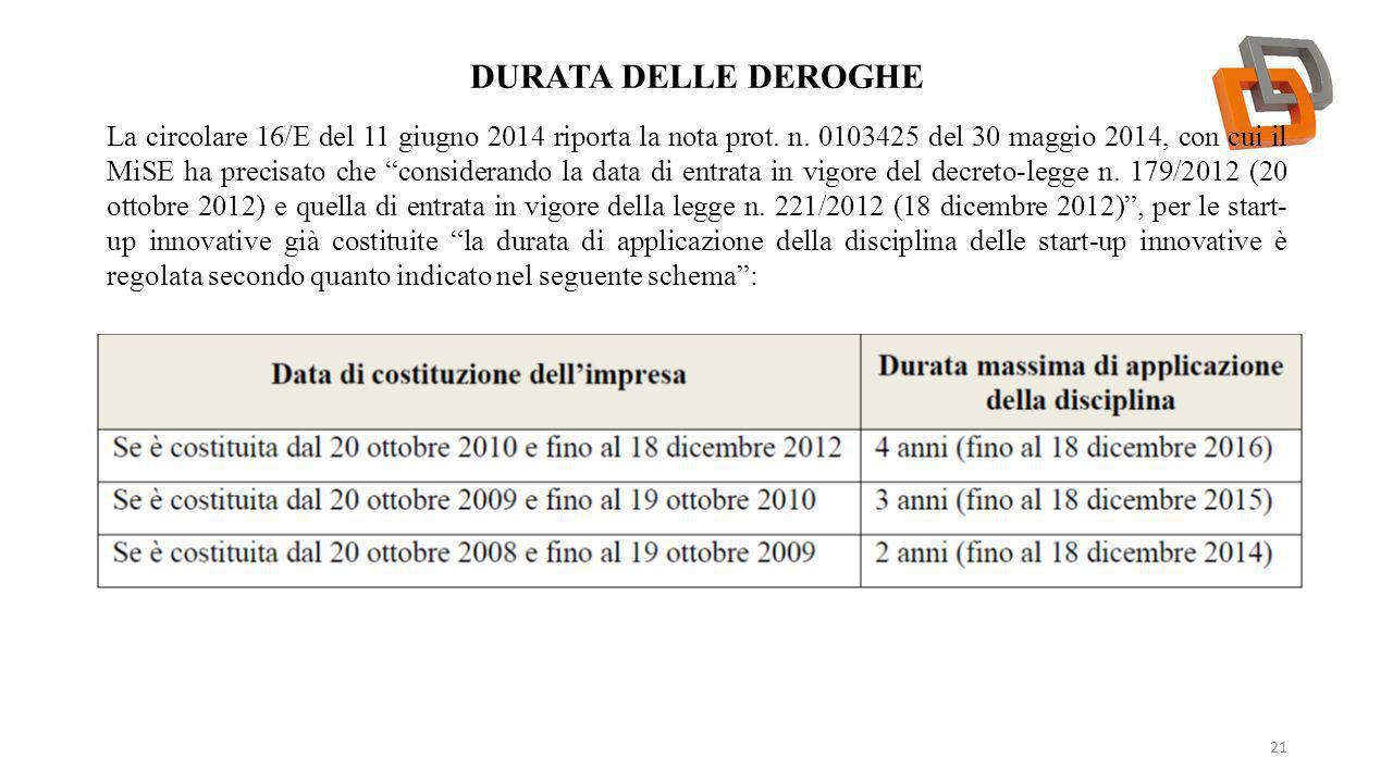 """DURATA DELLE DEROGHE 21 La circolare 16/E del 11 giugno 2014 riporta la nota prot. n. 0103425 del 30 maggio 2014, con cui il MiSE ha precisato che """"co"""