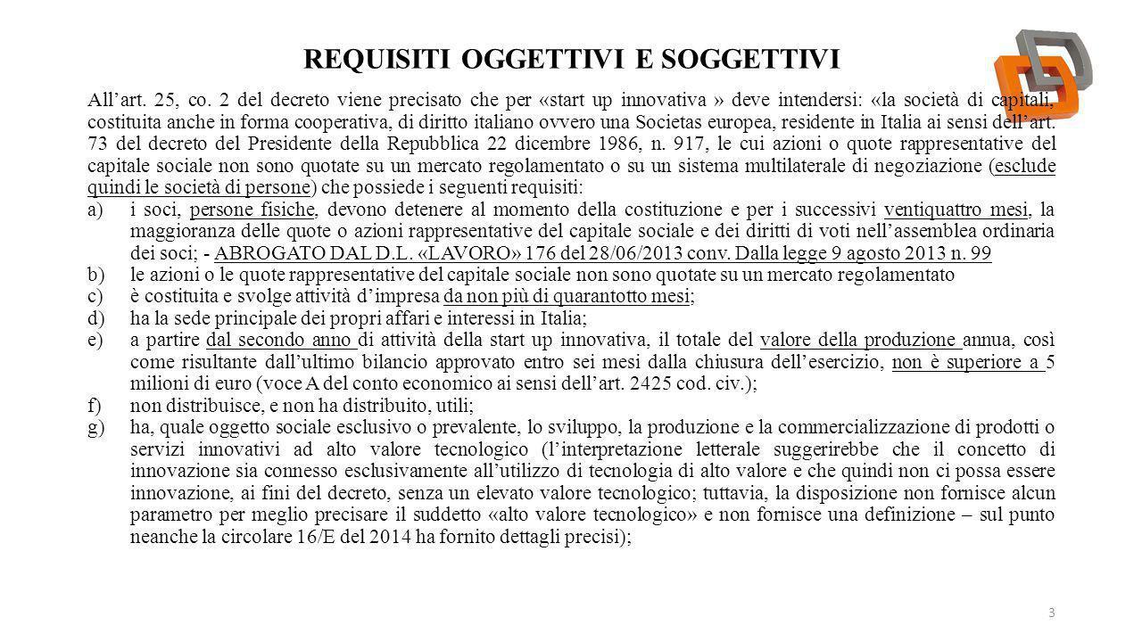 REQUISITI OGGETTIVI E SOGGETTIVI 4 h)non è stata costituita da una fusione, scissione societaria o a seguito di cessione di azienda o di ramo di azienda; i)possiede almeno uno dei seguenti ulteriori requisiti: 1.