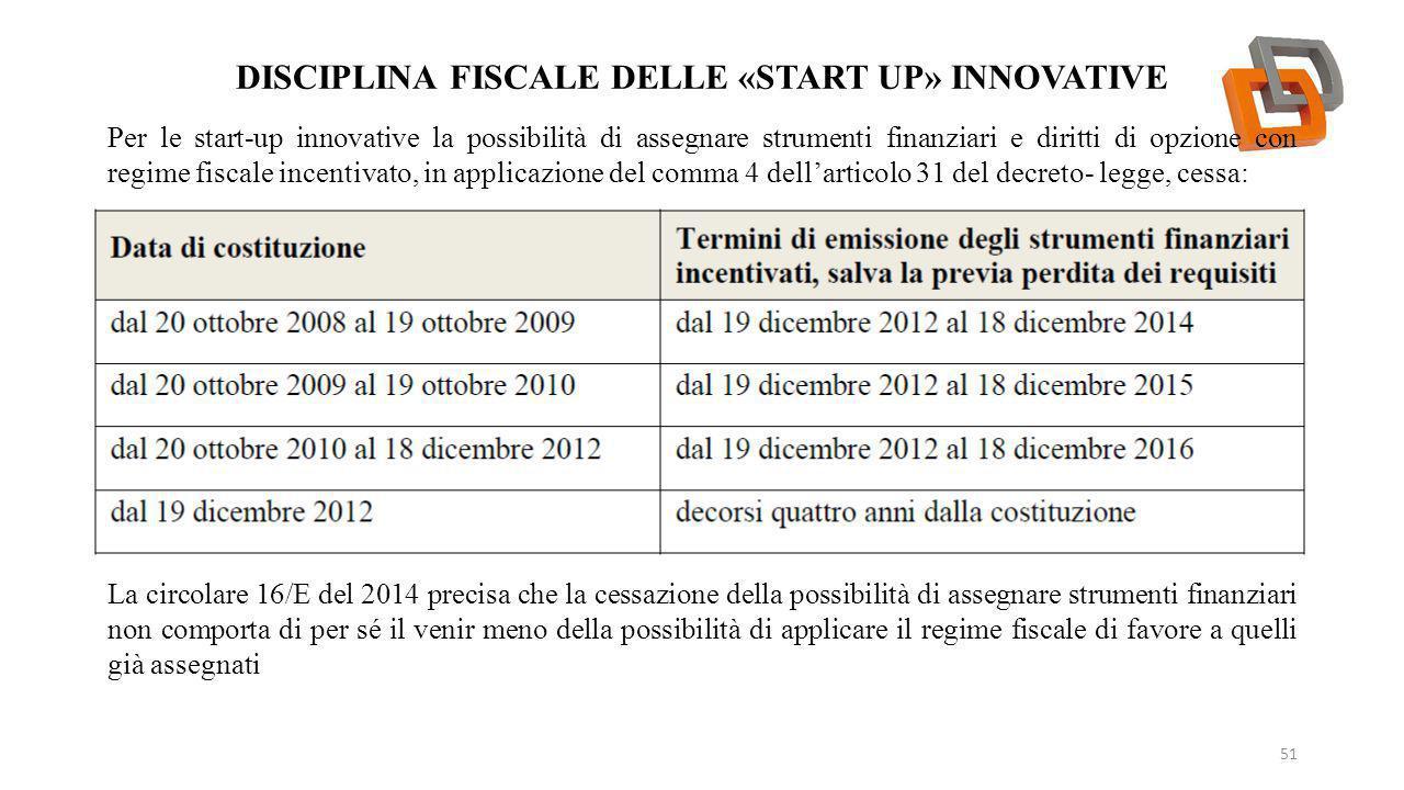 DISCIPLINA FISCALE DELLE «START UP» INNOVATIVE 51 Per le start-up innovative la possibilità di assegnare strumenti finanziari e diritti di opzione con