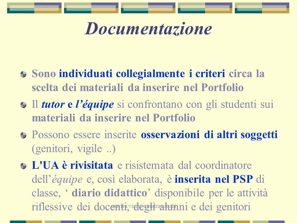 marisa vicini sandra ronchi Documentazione Sono individuati collegialmente i criteri circa la scelta dei materiali da inserire nel Portfolio Il tutor