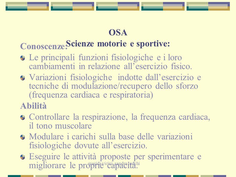 marisa vicini sandra ronchi OSA Scienze motorie e sportive: Conoscenze: Le principali funzioni fisiologiche e i loro cambiamenti in relazione all'eser