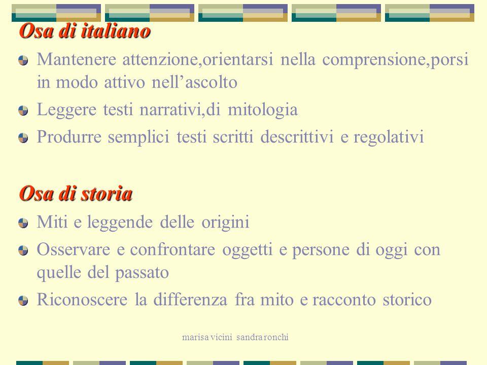 marisa vicini sandra ronchi Osa di italiano Mantenere attenzione,orientarsi nella comprensione,porsi in modo attivo nell'ascolto Leggere testi narrati