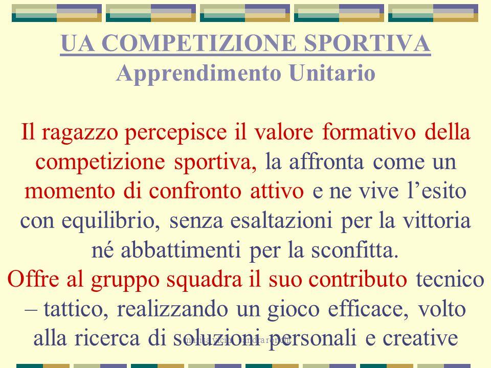 marisa vicini sandra ronchi UA COMPETIZIONE SPORTIVA Apprendimento Unitario Il ragazzo percepisce il valore formativo della competizione sportiva, la