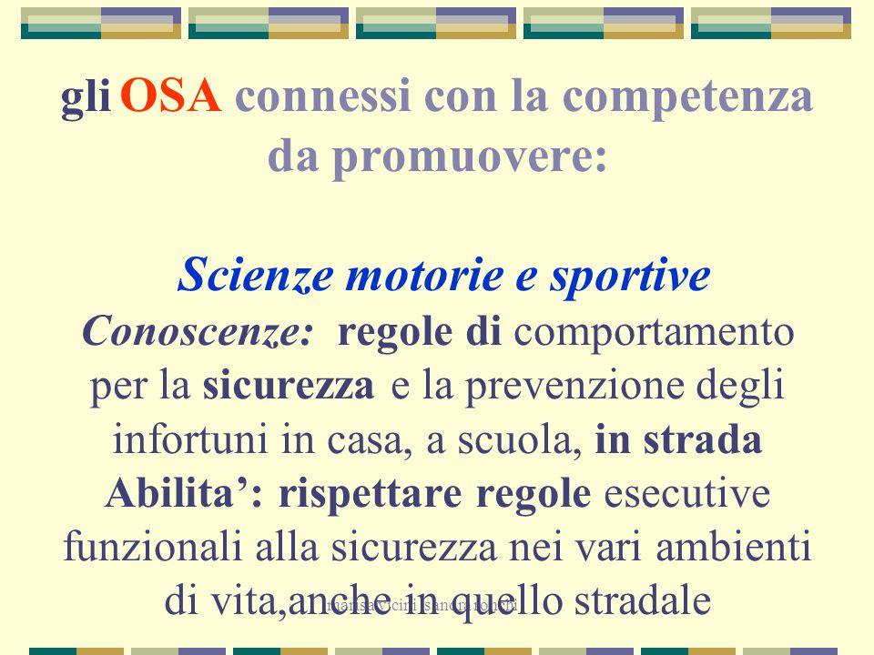 marisa vicini sandra ronchi gli OSA connessi con la competenza da promuovere: Scienze motorie e sportive Conoscenze: regole di comportamento per la si