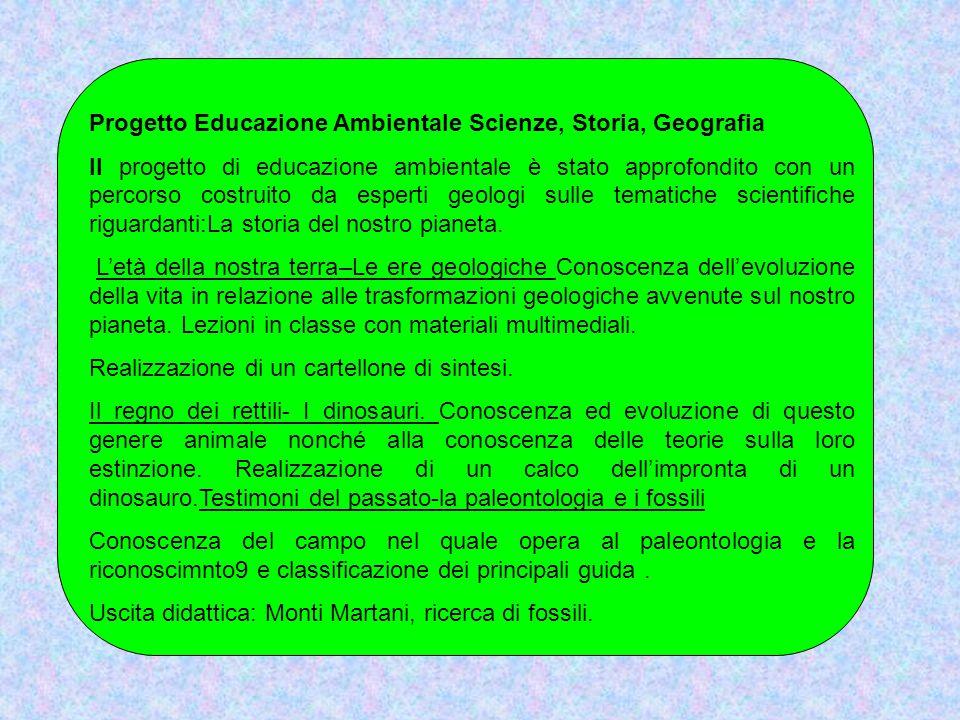 Progetto Educazione Ambientale Scienze, Storia, Geografia Il progetto di educazione ambientale è stato approfondito con un percorso costruito da esper