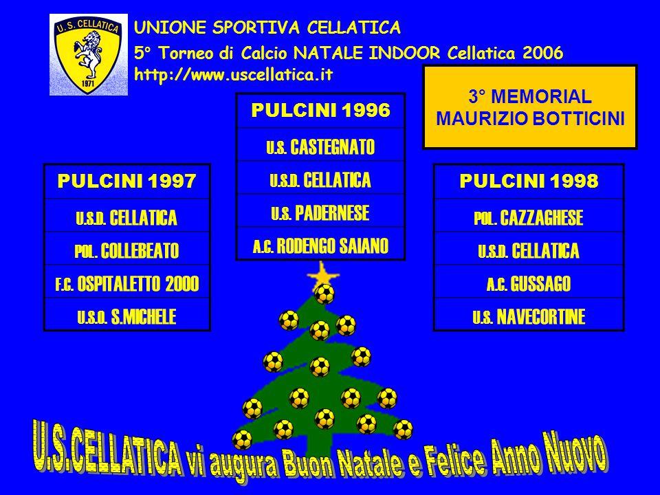http://www.uscellatica.it UNIONE SPORTIVA CELLATICA 5° Torneo di Calcio NATALE INDOOR Cellatica 2006 PULCINI 1997 U.S.D. CELLATICA POL. COLLEBEATO F.C